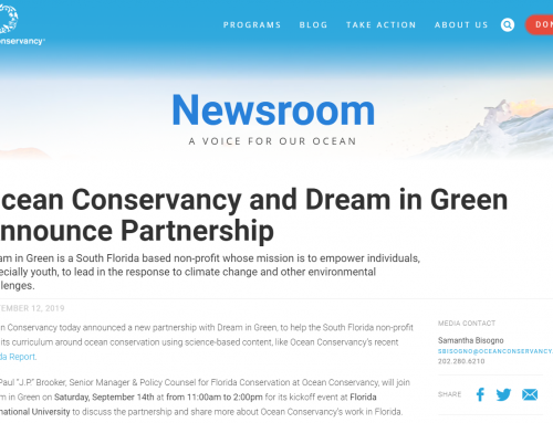 Ocean Conservancy and Dream in Green Announce Partnership